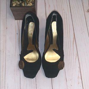 Zinc Black Suede Peep Toes high heels size 8.5